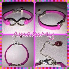 Bracelet#bracciale#jewels#infinito#strass#charms#handmade#alcantara#colori#bijoux#fucsia#