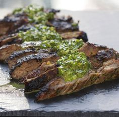 Argentinian chimichurri sauce and grilled skirt steak - Chimichurri is simple to make (just blenderize herbs, spices, and vinegar) and it livens up just about anything!