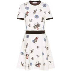 Valentino Floral Knitted Dresss ($4,015) ❤ liked on Polyvore featuring dresses, short, white, floral printed dress, white floral print dress, botanical dress, white dress and flower design dresses