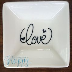 Ring Dish Jewelry Storage Catch All Love Ring Dish by HappyTessa