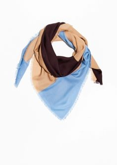 & Other Stories image 2 of Block Colour Scarf in Blue/ Brown/ Powder Pink