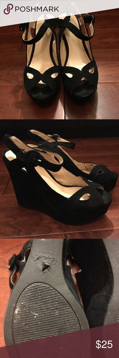 Qupid heels Black wedges, worn only once for a wedding and stepped on some random stuff! Pics included! It fits a 7.5 but isn't labeled Shoes