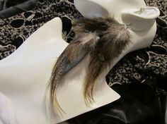 Beautiful blond and brown feather ear wrap / feather hair extension on sale...