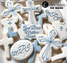 1 DOZEN - Christening Baptism Decorated Cookies Communion Religious Catholic Christian Cross Chevron