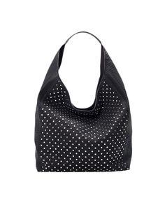 Rivets-studded Single-strap Leather Hobo Bag