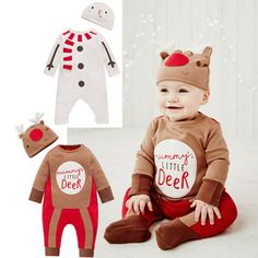 Free Shipping 3 Sets/lot Baby Children Christmas New Year  Rompers and Cap Outift Boy and Girl Holiday Clothes