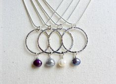 Freshwater pearl drop & silver circle karma ring pendant necklace on snake chain - colour choice: Purple, Silver, Ivory or Peacock Blue by LunadustStudio on Etsy