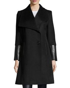 Faux-Leather-Trim Wool-Blend Coat, Black  by T Tahari at Neiman Marcus Last Call.