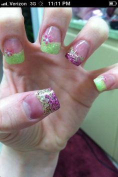 Purple and green acrylic nails