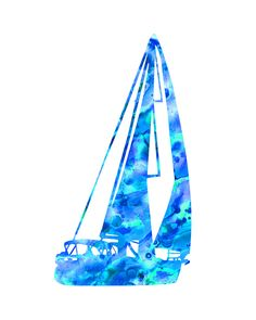 Aqua blue sailboat print sailboat waterclolor by FluidDiamondArt