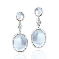 Ivanka Trump earrings in 18k white gold with rock crystal, mother of pearl, & diamonds