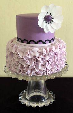 Girly Purple Ruffle Cake