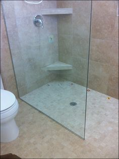Small Bathroom No Shower Door single frameless shower panel - no door | serene 2nd master