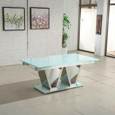 Nico Extending Glass Dining Table In White With Chrome Base  extendable dining  table and chairsParini Extendable Dining Table Rectangular In Grey Gloss  . Glass Dining Table Ebay Uk. Home Design Ideas
