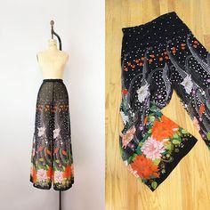 vintage 70s wide leg pants /1970s sheer floral chiffon pants /
