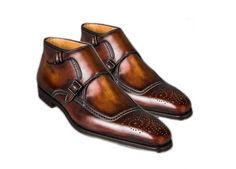 Handmade Men Stylish Brogue Double Monk Strap Pure Leather Men's Shoes sold by Lajuria. Shop more products from Lajuria on Storenvy, the home of independent small businesses all over the world. Leather Heels, Calf Leather, Leather Men, Leather Jackets, Men's Shoes, Dress Shoes, Men Dress, Double Monk Strap Shoes, Cowboy Shoes