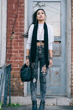 Urban Outfitters Top, Nasty Gal Search & Destroy Jeans, Forever 21 Biker Chic Cut Out Booties, H&M Shoulder Bag
