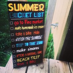Summer decor bucket list sign