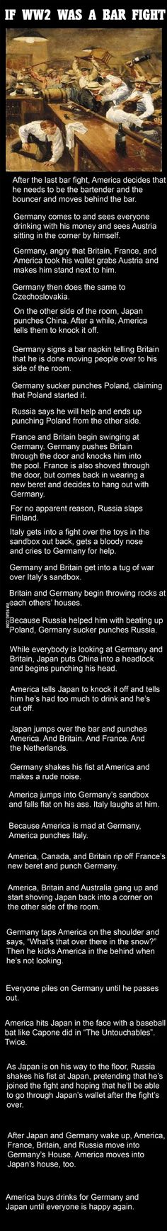 If World War 2 Was A Bar Fight..finally an easy way to understand history!!