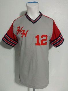 vtg baseball jersey harbert howard jeddah usa made adult large polyester 80s 90s
