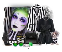 """Beetlejuice Halloween Chic by Sheniq"" by sheniq ❤ liked on Polyvore featuring Lulu Guinness, MICHAEL Michael Kors, La Regale, Chicwish, Coast, City Chic, WithChic, Kate Spade, Rachel Zoe and Illesteva"