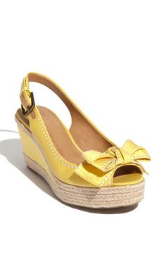 Need for summer! Yellow bow peep toe espadrill wedges