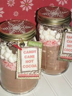 Candy Cane Hot Chocolate in a Jar - for office Christmas Party gift~