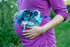 Teal Purple Aqua Gray Maternity Sash w/ by QueeniebabeBoutique Teal Baby Showers, Baby Shower Purple, Baby Shower Parties, Baby Shower Gifts, Chiffon Flowers, Satin Flowers, Purple Satin, Purple Teal, Purple Baby