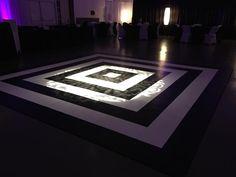 black and white dance floor, gobo monogram