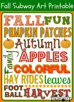 17 Free Fall Printable Signs - Subway Art, Happy Fall Ya'll, autumn free printables fall decor easy decorating bucket list keep calm harvest Samhain, Project Life, Fall Subway Art, Autumn Crafts, Holiday Crafts, Fall Projects, Diy Projects, Happy Fall Y'all, Autumn Activities