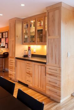Stainless Steel Appliances, Counter Height Seating For 9, Natural Birch  Cabinets In Shaker Door
