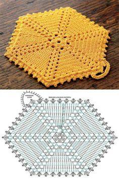 hexagon crochet trivet
