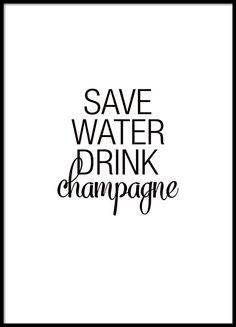 Rolig och snygg poster om champagne
