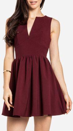 Burgundy Skater Dress <3