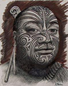 Artwork by R. Tribal Face Tattoo, Maori Tattoos, Face Tattoos, Cool Tattoos, Haka New Zealand, New Zealand Art, Once Were Warriors, Maori Tribe, Polynesian People
