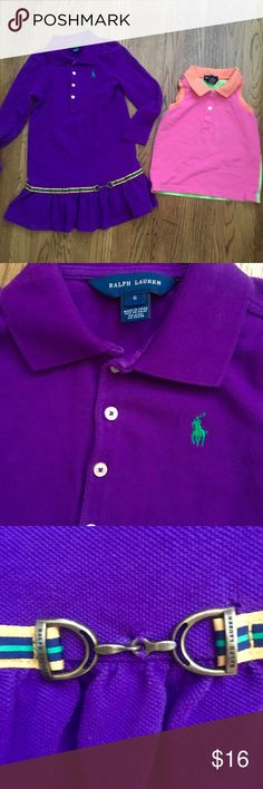 Ralph Lauren bundle. EUC. Cute equestrian RL purple dress (worn once) and colorblock RL pink, green and orange sleeveless polo.  Smoke/pet free home. No stains, piling or tears. Ralph Lauren Dresses Casual