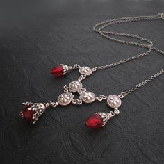 Hey, I found this really awesome Etsy listing at https://www.etsy.com/listing/108351589/victorian-necklace-bright-ruby-red-blood