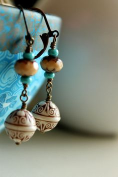 Boho Chic  Earrings, Bohemian Earrings, Cream, Turquoise, Brown, Vintage Look on Etsy, $18.50