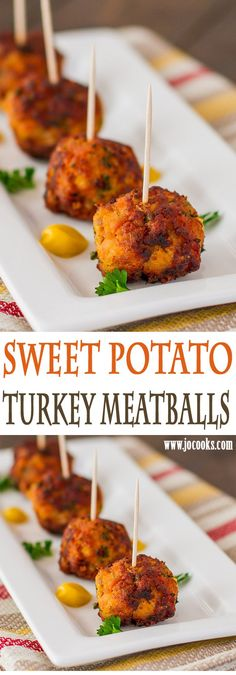 Sweet Potato Turkey Sweet Potato Turkey Meatballs an. Sweet Potato Turkey Sweet Potato Turkey Meatballs an interesting combination of ingredients gives you the most superb meatballs. Perfect little appetizers. Sweet Potato Recipes, Baby Food Recipes, Paleo Recipes, Cooking Recipes, Hacks Cocina, Fingers Food, Turkey Dishes, Turkey Food, Turkey Meals