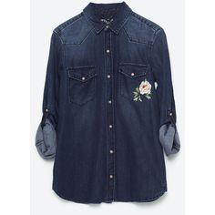 РУБАШКА ИЗ ДЕНИМА С ВЫШИВКОЙ - Просмотреть все-БЛУЗЫ И РУБАШКИ-ЖЕНЩИНЫ... ($50) ❤ liked on Polyvore featuring tops, blue top, embroidered tops, blue shirt, denim top and blue denim shirt