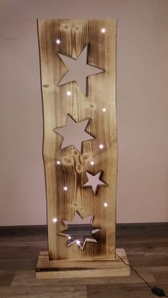 Decorative objects - wooden board with stars + LED lighting - a designer piece by F . Decorative objects – wooden board with stars + LED lighting – a unique product by FILZ_HOLZ_und Christmas Wood Crafts, Christmas Projects, Holiday Crafts, Christmas Diy, Christmas Decorations, Wooden Projects, Wooden Crafts, Diy And Crafts, Navidad Diy