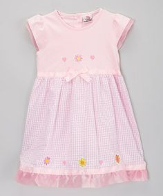 Love this Pink Gingham Flower Seersucker Dress - Toddler & Girls by Real Love on #zulily! #zulilyfinds
