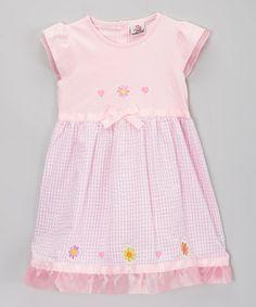 Love this Pink Gingham Flower Seersucker Dress - Toddler & Girls by Real Love on #zulily! #zulilyfinds