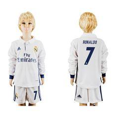 Real Madrid Fodboldtøj Børn 16-17 Ronaldo 7 Hjemmebanetrøje Langærmet.  http://www.fodboldsports.com/real-madrid-fodboldtoj-born-16-17-ronaldo-7-hjemmebanetroje-langermet.  #fodboldtrøjer