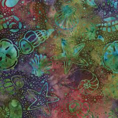 "1 Yard 30/"" of Plum Color SEA SHELL BATIK FABRIC Cotton FISH Starfish OCEAN"