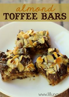Almond Toffee Bars Recipe ~ Says: A great version of magic bars filled with toffee, chocolate, oats and more... These are to die for!