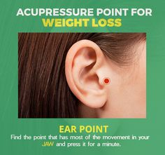 - Lose weight the way with this ear point. Lose weight the way with this ear point. Ear Reflexology, Acupressure Massage, Acupressure Treatment, Acupressure Therapy, Acupuncture For Weight Loss, Acupuncture Points, Acupressure Points, Massage Tips, Health And Wellness