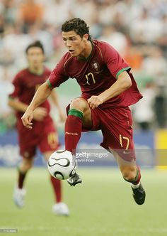 Cristiano Ronaldo of Portugal controls the ball during the FIFA World Cup Germany 2006 Group D match between Portugal and Iran played at the Stadium Frankfurt on June 17, 2006 in Frankfurt, Germany.