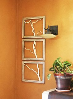 Real Willow Branch Rustic Framed Art  set of 3. by ArtisanMoss,