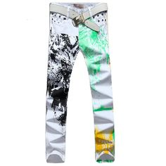 70.00$  Watch now - http://alis80.worldwells.pw/go.php?t=32429952922 - Hot Sale!2016 Pattern Printed Jeans for Men Skinny Straight Jeans Trousers Men Plus Size 28-36 Biker Motorcycle Pants 110 70.00$
